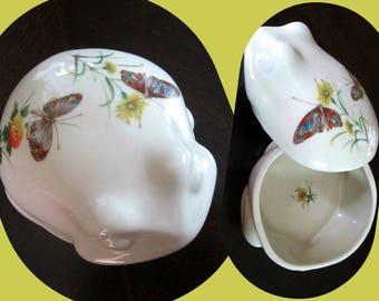 Frog Covered Trinket Dish Vintage Takahashi Butterflies and Flowers Made in Japan 1970s