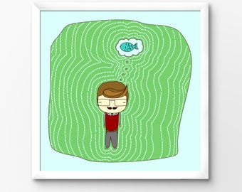 Geeky Moustache Man Instant Download Illustration, Digital Artwork by Sleepy Cloud Studios