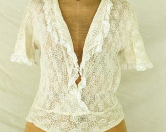 Vintage 1930's 40's Cream ruffled Knit Lace Blouse