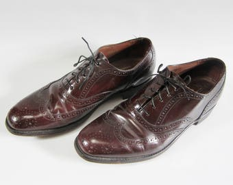 Vintage WINGTIP SHOES Maroon Leather BOSTONIAN Size 8.5