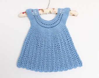 Summer Blue Crocheted Dress for 2-3 years old girls Baby Dress crochet dress baby girl