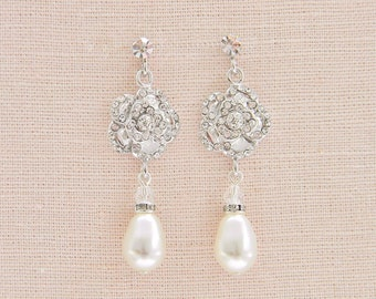 Rose Bridal earrings, Crystal Wedding Earrings,  Bridal Jewelry,  Bridesmaids Earrings , Rose Drop Earrings
