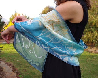 Elven Elegance Silk Scarf   |   Blue, Green, and Gold with Handlettered Script and White Tree