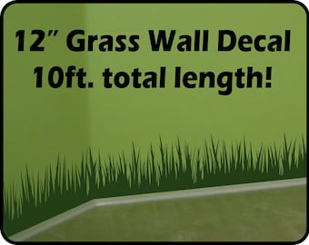 "Grass Wall Decal border (12"" tall x 120"" long) - removable vinyl wall border - nursery wall border"