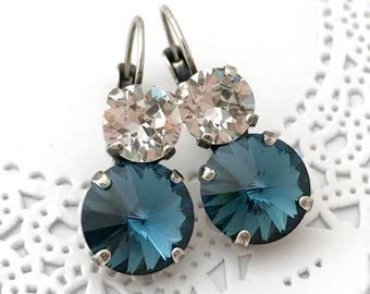 Navy Blue Earrings // 12mm Swarovski Crystal MONTANA Blue Earrings // White & Blue Bridesmaids Earrings