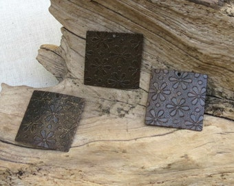 Square Blanks With Flower Pattern - Antiqued Natural Brass - 2 Pieces