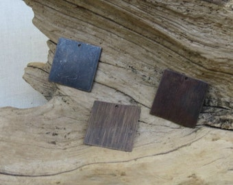 Square Blank - Antiqued Natural Brass - 20mm - 4 Pieces
