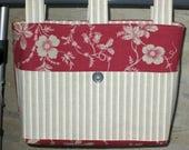 Adult Woman Walker Bag Tote  Purse - Brick Red & Gray Large Floral Cotton Canvas Bag, Gray White Stripe Pockets Straps, Dark Gray Button