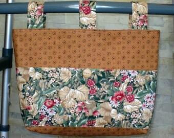 Adult Woman Cotton Walker Bag Tote Caddy Purse – Cinnamon w/Black Bag, Beige Olive Green Cranberry Floral Pockets & 3 Straps, Beige Button