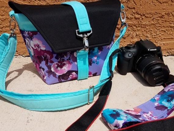 New-Camera bag-Digital SLR camera bag-Dslr camera case-purse-womens camera bag-Extra Bonus-Strap cover-LOVE FLORAL