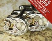 Steampunk Cufflinks Cuff Links - TORCH SOLDERED - Antique Silver HAMILTON Watch Movements w Pin Stripes - Wedding Anniversary Gift