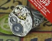 Women's Steampunk Ring - Vintage HELBROS Watch Movement w Single Gold Gear - Torch SOLDERED - Birthday, Anniversary Gift - Killer Style