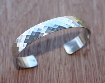 Sterling Silver Cuff Bracelet - Faceted Sterling Silver Cuff - Hand Forged Artisan Jewelry - Modern Silver Jewelry - 25th Anniversary Gift