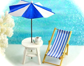 Blue and White Beach Chair Only