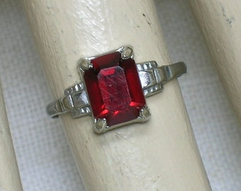 Art Deco Silver Ring: Red Glass Paste Stone. Size 4 1/2. Vintage July Birthstone Ring