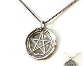 CYBER MONDAY SALE Pentacle with Initial Reversible Wax Seal Necklace