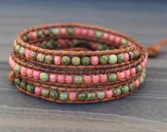 Triple Leather Wrap Bracelet - Unakite and Pink Czech Glass Beads - Green & Pink Boho Bracelet