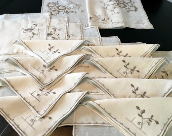 17 Pc Vintage Lefkara Lace Set Napkins Placemats Runner Hand Embroidery