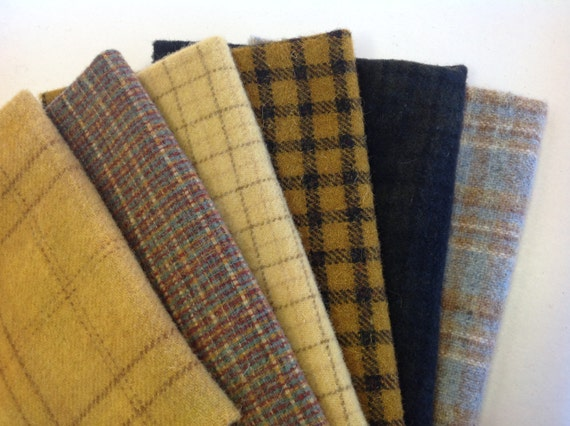 Bee Skep Wool Bundle, 6) Fat Eighths, Wool Fabrics for Rug Hooking and Applique, W278, Bumble bee colors, Blacks, Golds, Browns & Blues