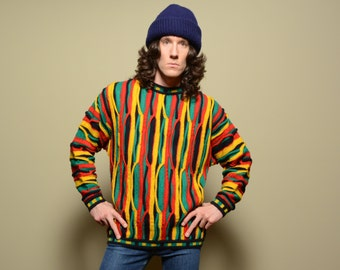 vintage 90s Coogi style sweater hip hop street style 1990 Fresh Prince Cosby rasta red green yellow black knit U.O.Me M/L