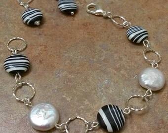 zebra agate stone necklace, zebra agate bracelet,zebra agate earrings, agate jewelry, jewelry set, coin pearl, gemstone jewelry set
