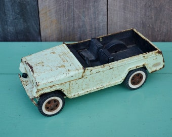 Vintage Tonka Jeepster Pressed Steel Metal Toy Car Truck Convertible Light Green Chippy Rusty Parts Restore Upcycle Repurpose 1960's