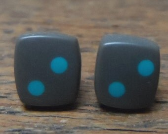 Mini resin studs - charcoal with turquoise spots