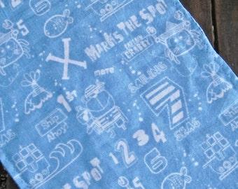 Blue Baby Pirate Flannel Burp Cloth Boy