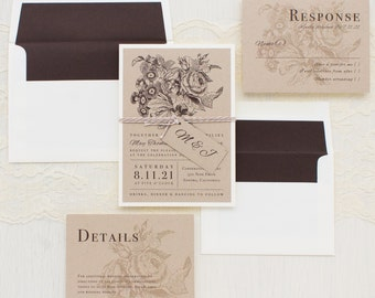 "Floral Boho Wedding Invitations, Brown Envelope Liner, Taupe, Ivory, Brown - ""Rustic Floral"" Sample"