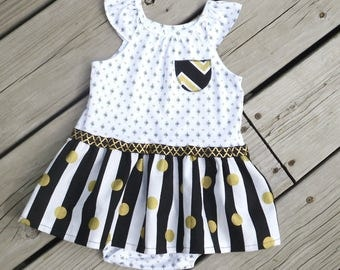 Black and Gold Baby Bodysuit Dress