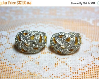 SPRING SALE Broken But Beautiful Clear Pave Rhinestone Signed  Kenneth J Lane Gold Clip On Earrings