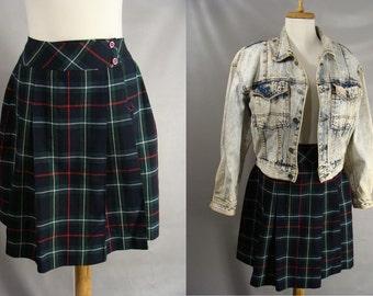 Plaid School Girl Skirt. Tartan PLaid Kilt Skirt. Mackenzie Clan Tartan. Blue Wrap Skirt. Pleated Schoolbelles Skirt by Kip Kraft S M 6 8