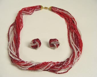 SALE was 42.22. 50s Red & White Necklace n Earrings. Sparkly Multi Strand Glass Seed Bead Torsade Necklace. Red Clip on Earrings Demi Parure