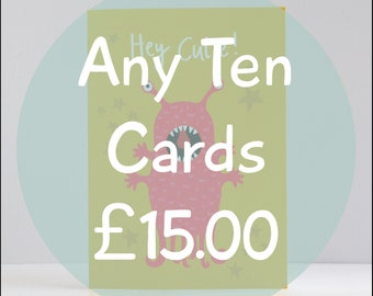 Any 10 Cards Special Offer, Multi Pack of Greetings Cards, Funny Hand Lettered Cards, Bulk Buy, Discount Pack of Cards, Birthday Cards