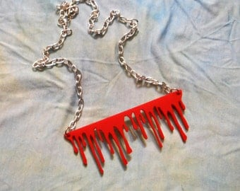 Red SLIT THROAT Drippy Blood Acrylic Necklace with Silver Chain and Clasp
