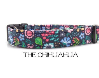 Flower Dog Collar, The Chihuahua, Floral Dog Collar, Blue Dog Collar, Girly Dog Collar, Cute Dog Collar, Floral Dog Leash (Leash Available)