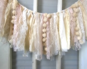 fabric banner, shabby garland, nursery decor, window swag, pink, fringe banner, neutral