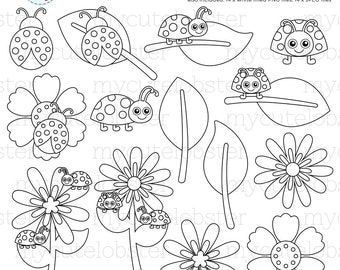 Ladybugs Digital Stamps - ladybugs outlines, line art, stamps, cute ladybirds - personal use, small commercial use, instant download
