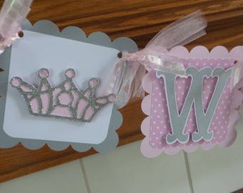 Welcome Baby Shower Banner Princess and Pirate Welcome Baby Banner, Crowns and Pirate Skull Baby Banner,Pink and Gray Princess Baby Banner,
