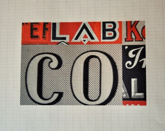 Typography Collage  - vintage packaging graphics on antique paper