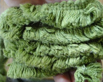 Olive Green Fringe Trim - One Yard