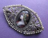 On Sale Antique French Silver Enamel Miniature Figural Brooch Art Nouveau Lady Marcasite Pin Circa 1920