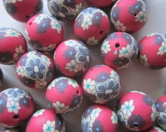 15mm Red Flower Polymer Clay Beads 14 Beads