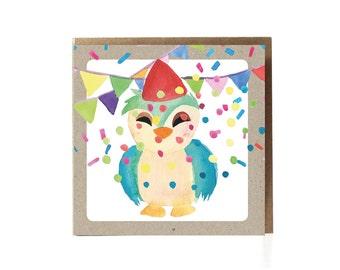 Happy Birthday Greeting Card Kids / Congratulation / Greeting Card / Congratulations Card / Bird / Children / Anniversary Card