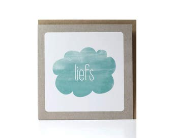 SALE / Greeting Card / Liefs /  (Dutch) greeting card /  cloud greeting card /  with envelope / Green Greeting Card / Eco-Friendly Paper