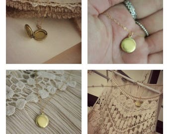 Vintage Brass Locket Necklace