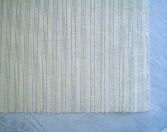 Linen Fabric with Open Weave Stripe Ivory White by Half Yard