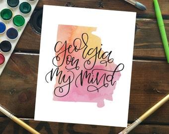 "Georgia on My Mind Watercolor State Silhouette Art Print, 5""x7"" Watercolor Georgia State Peach Yellow Pink Toned Art Print"