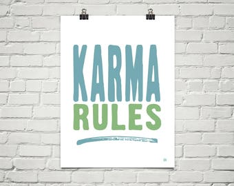 Karma Rules 18x24 Art Poster Giclee Blue Mint White Lisa Weedn