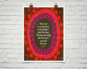 And what is as important as knowledge? 18x24 Art Poster Giclee Typography Flavia & Lisa Weedn